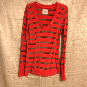 Orange striped v-neck FP sweater tunic